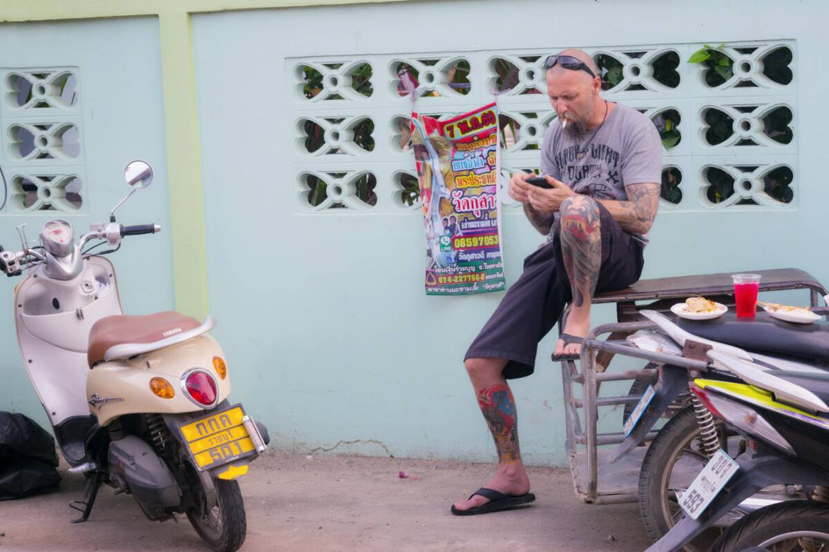 Riding scooter in Thailand